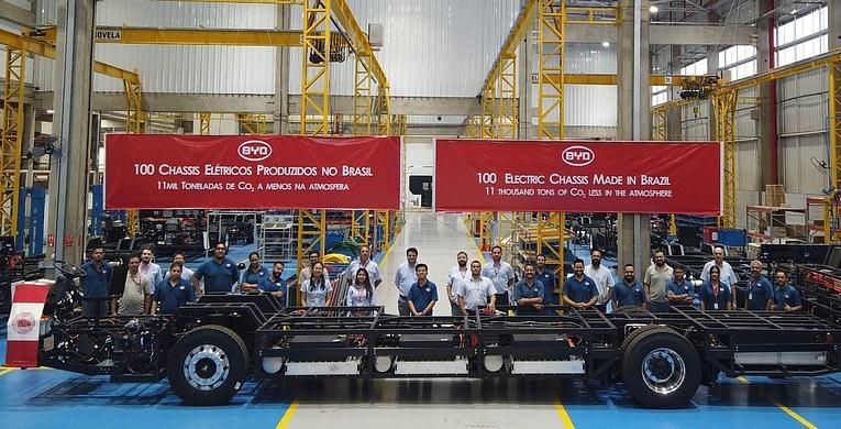 Imagem ilustrativa da notícia: BYD produziu cem chassis elétricos em Campinas