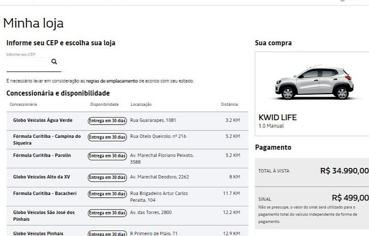 Imagem ilustrativa da notícia: Renault vende toda a sua linha pela internet