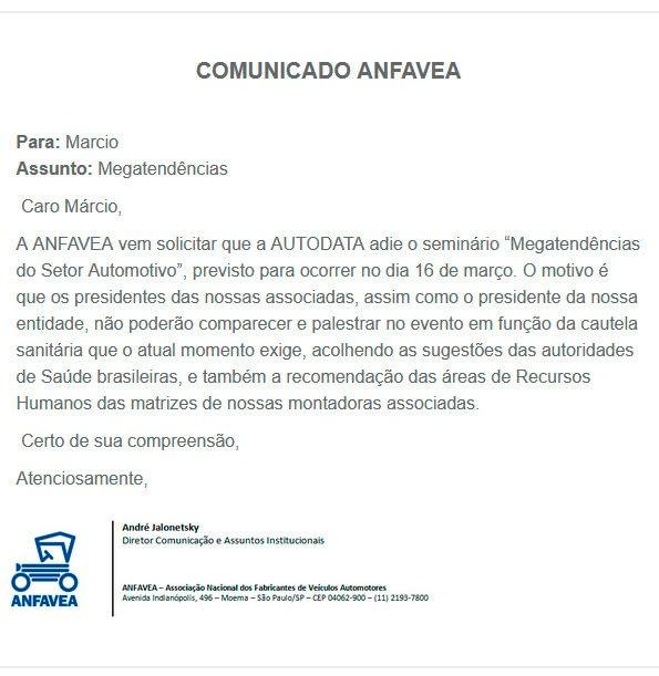 Imagem ilustrativa da notícia: A pedido da Anfavea AutoData adia Seminário Megatendências